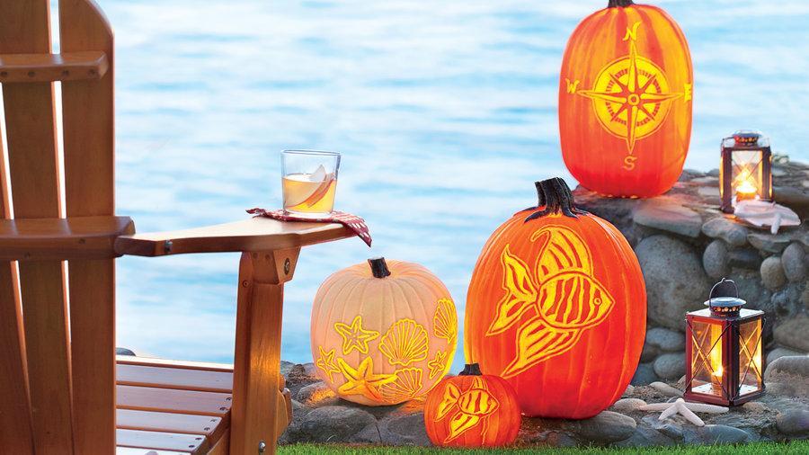 beachy carved pumpkins